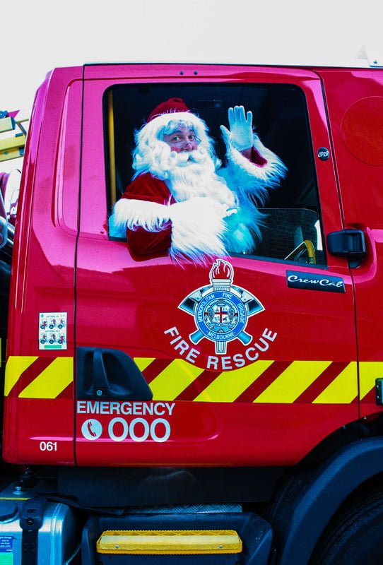 The Real Santa Firetruck wave