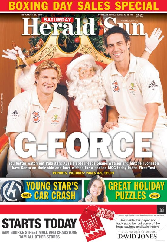 Shane Watson Mitchell Johnson Herald Sun The Real Santa