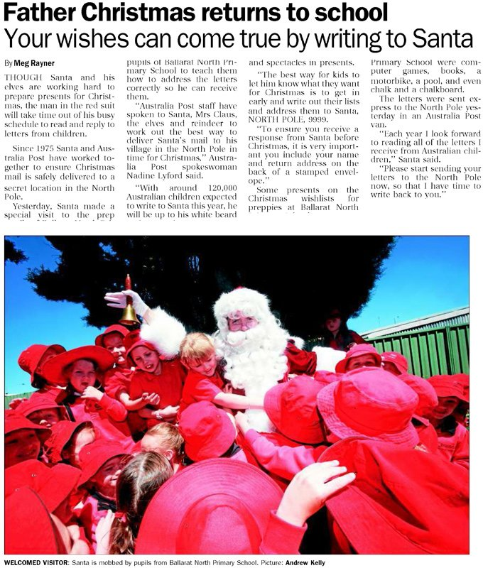 The Real Santa Mail Ballarat Courier