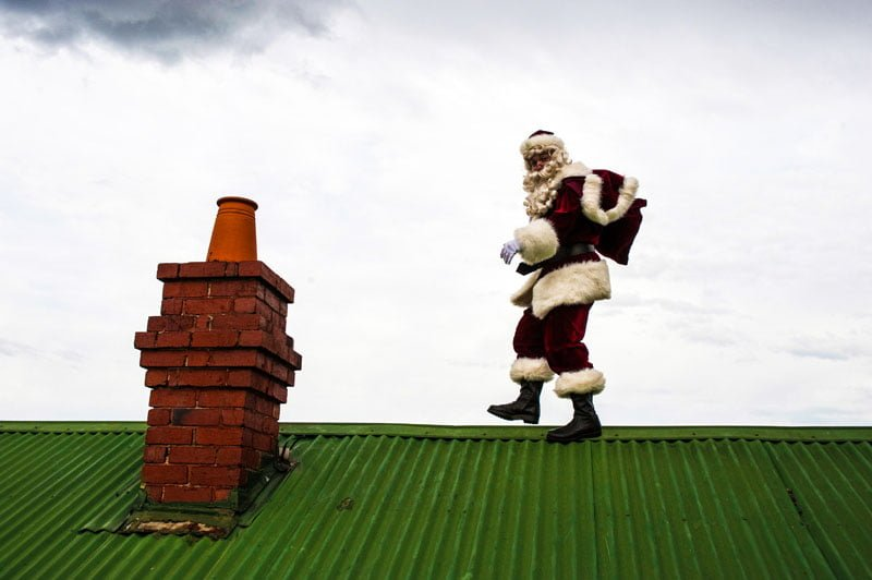 The Real Santa seen on roof