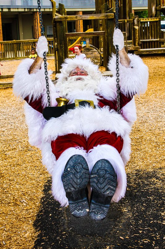 The Real Santa on a swing