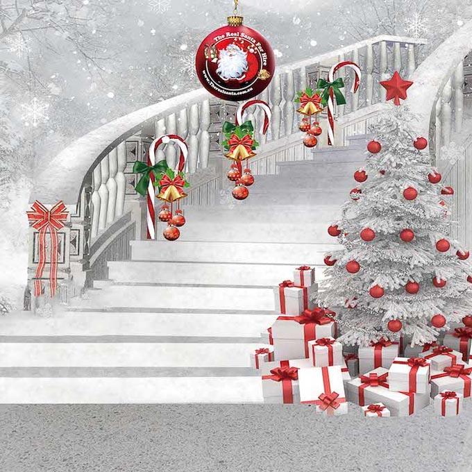 Backdrop staircase white