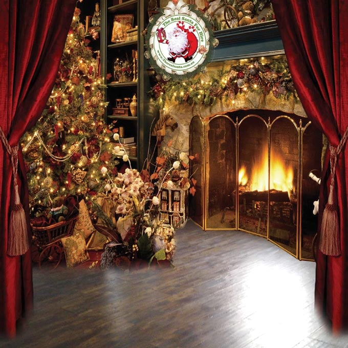 Backdrop with fireplace