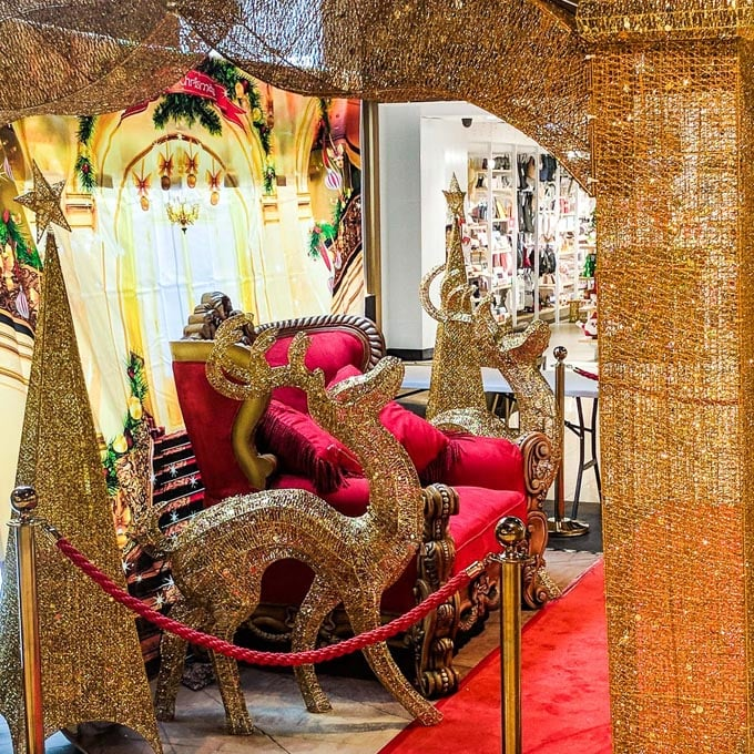 Grandiose Red Teak Chair setup in Mall - The Real Santa
