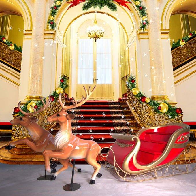 Lifesize Santa Sleigh Reindeer
