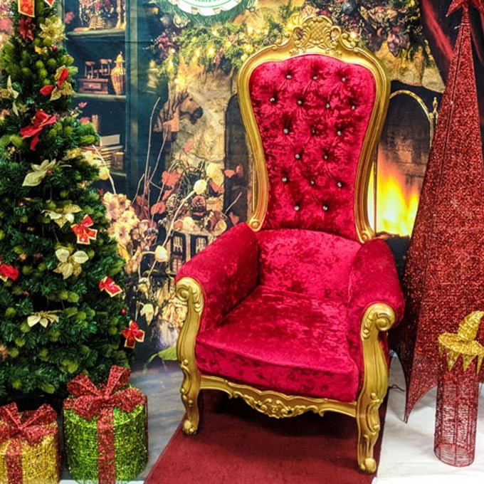 Regal Red Gold Throne - The Real Santa