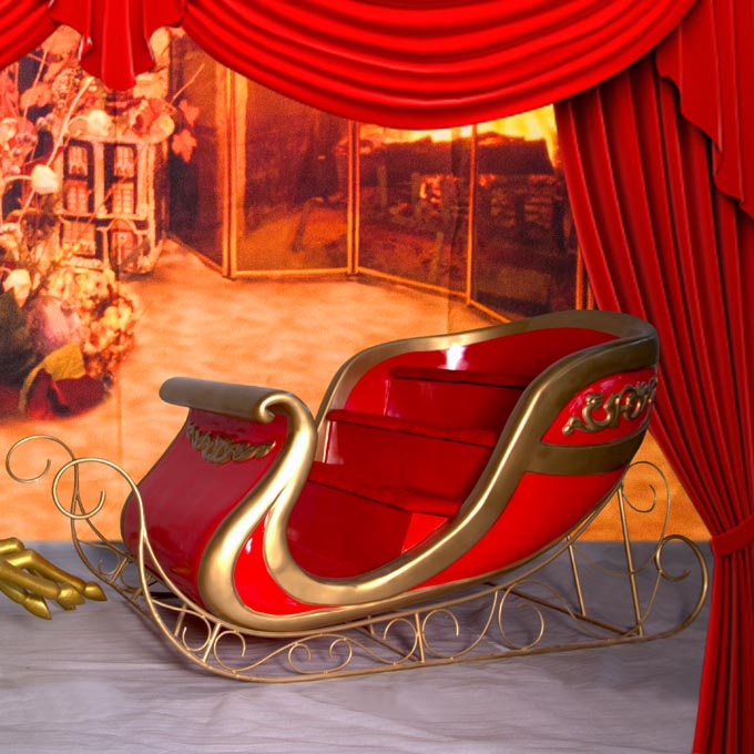 Sovereign Red Gold Sleigh - The Real Santa