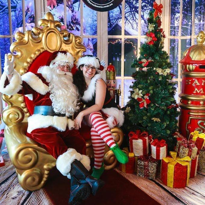 Christmas Tree Real Santa and Elf and Props